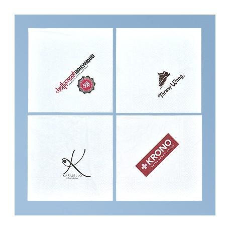 Papirserviet med logo 33*33cm, hvid 2 lag, 1/4