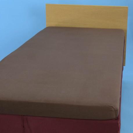 Voodilina kummiga 90*200 cm, trikotaaž, pruun