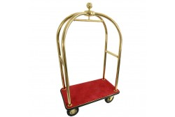 Bagagevogn gyldne, rød tæppe