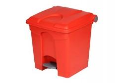 Plastbeholder med pedal 30L, rød