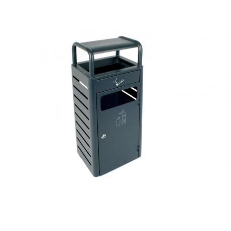 Affaldsbeholder-askebæger udendørs,  20L+2.3L grå